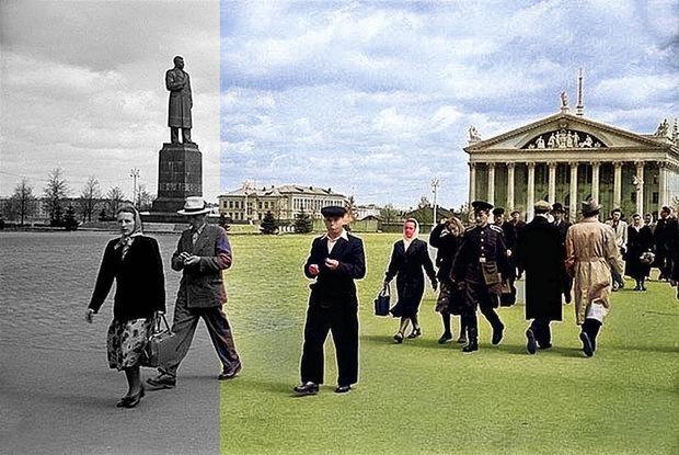 Раскрасили с помощью нейросети старые черно-белые фото Минска